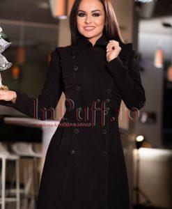 Palton dama de stofa neagra cu volane - PALTOANE si GECI -