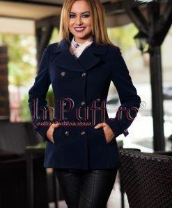 Palton dama elegant bleumarin - PALTOANE si GECI -