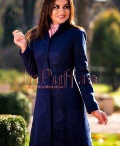 Palton dama elegant din stofa bleumarin - PALTOANE si GECI -