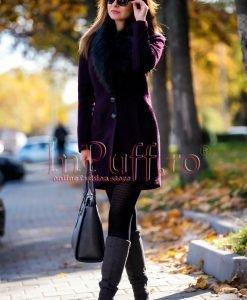 Palton dama elegant mov inchis cu guler de blana - PALTOANE si GECI -