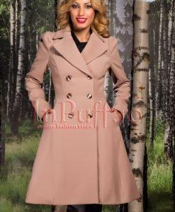 Palton dama elegant stofa bej-rose - PALTOANE si GECI -