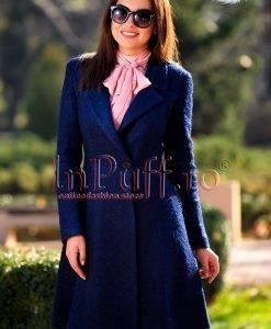 Palton dama elegant trei sferturi lana bleumarin - PALTOANE si GECI -