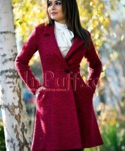 Palton dama elegant trei sferturi lana bordo - PALTOANE si GECI -