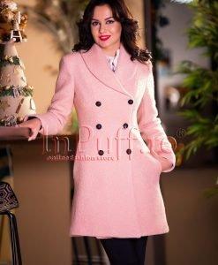 Palton dama lana roz pal prafuit - PALTOANE si GECI -