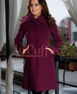 Palton dama mov elegant de stofa - PALTOANE si GECI -
