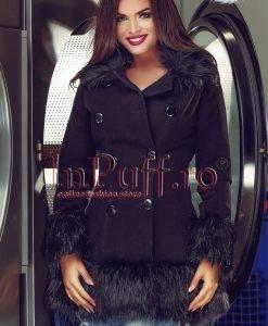 Palton dama negru cu guler si mansete din blana - PALTOANE si GECI -