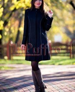 Palton dama negru cu insertii de piele ecologica - PALTOANE si GECI -