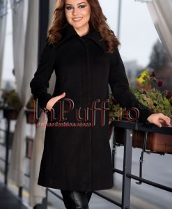 Palton dama negru elegant de stofa - PALTOANE si GECI -