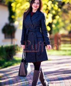 Palton dama trei sferturi gri inchis - PALTOANE si GECI -