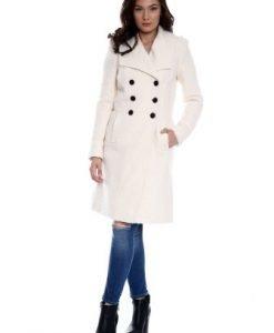 Palton din lana cu buzunare AM-80701 crem - Paltoane -