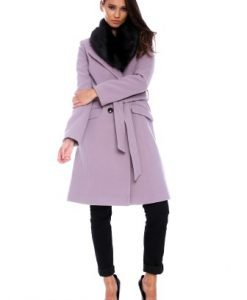 Palton din lana cu cordon si guler de blana AM-80725 roz prafuit - Outlet -