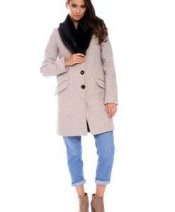 Palton din lana cu guler de blana AM-80712 bej - Outlet -