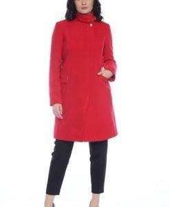 Palton din lana cu guler inalt AM-90703 rosu - Outlet -