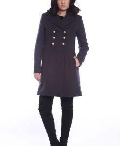 Palton din lana cu revere AM-90717 negru - Paltoane -