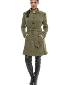Palton din stofa de lana verde CR0722OS olive - Paltoane -