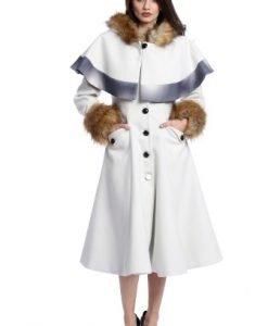 Palton elegant cu gluga si blanita ecologica AM-21611703 alb - Outlet -