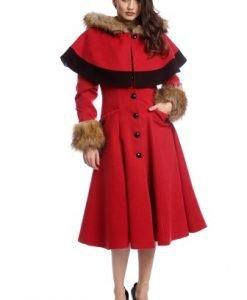 Palton elegant cu gluga si blanita ecologica AM-21611705 rosu - Paltoane -