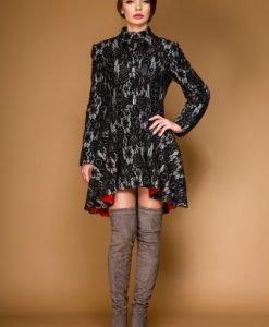 Palton gri cu negru cu aplicatii de dantela LORA - Paltoane -