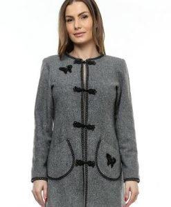 Palton gri din lana cu broderie PF03 - Paltoane -