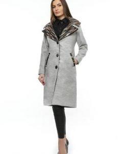 Palton gri din lana cu guler de stofa PF12 - Paltoane -