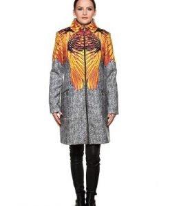 Palton gri din stofa cu imprimeu PF02 - Paltoane -