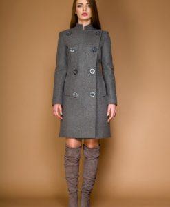 Palton gros cambrat din lana LUANA gri - Outlet -