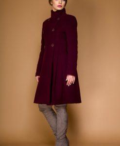 Palton in clos din lana LAURA mov pruna - Paltoane -