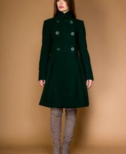 Palton in clos din lana LAURA verde - Paltoane -