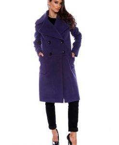 Palton larg din lana cu buzunare AM-80724 mov - Outlet -