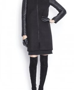 Palton lejer realizat din tesatura texturata Negru - Imbracaminte - Imbracaminte / Paltoane