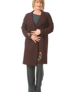 Palton lung cu broderie din lana C040 grena - Paltoane -