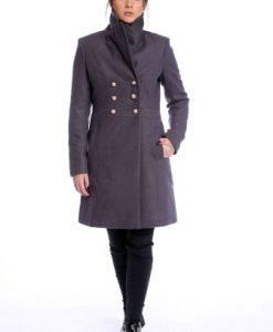Palton matlasat cu guler inalt AM-21611701 grej - Paltoane -