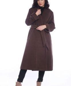 Palton matlasat din lana cu cordon AM-90711 maro - Outlet -