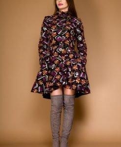 Palton multicolor cu aplicatii de dantela LORA - Paltoane -