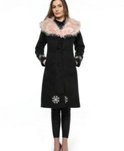 Palton negru cu guler de blana bej PF17 - Paltoane -