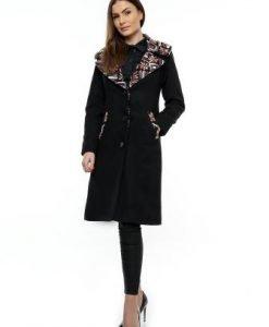 Palton negru cu guler imprimat PF14 - Paltoane -