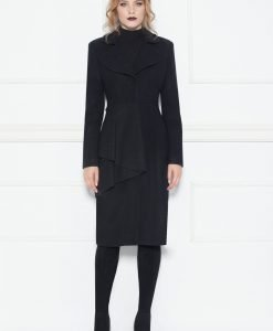 Palton negru cu volan aplicat Negru - Imbracaminte - Imbracaminte / Paltoane