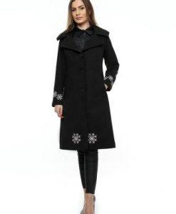Palton negru din lana cu broderie PF17B - Paltoane -