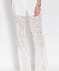 Pantalon din tesatura transparenta cu imprimeu floral Crem - Imbracaminte - Imbracaminte / Pantaloni