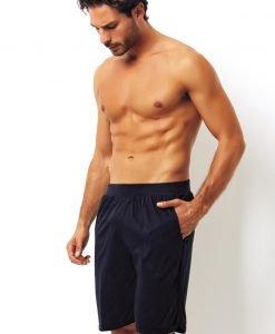 Pantalon scurt albastru din bumbac - Lenjerie pentru barbati - Haine de casa