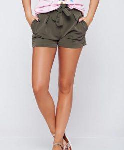 Pantalon scurt casual cu talie medie verde-inchis accesorizata cu cordon - Pantaloni scurti -