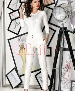 Pantaloni albi cu accesorii metalice - PANTALONI COLANTI - PANTALONI COLANTI > Pantaloni