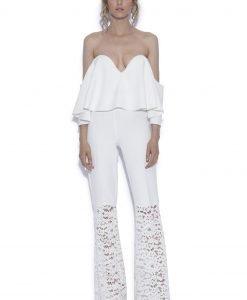 Pantaloni albi cu dantela Alb - Imbracaminte - Imbracaminte / Pantaloni