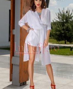 Pantaloni albi scurti din voal - PANTALONI COLANTI - PANTALONI COLANTI > PANTALONI SCURTI