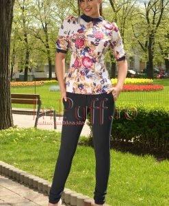 Pantaloni bleumarin cu fermoare metalice aurii in talie - PANTALONI COLANTI - PANTALONI COLANTI > Pantaloni