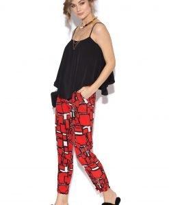 Pantaloni casual cu print geometric Rosu - Imbracaminte - Imbracaminte / Pantaloni