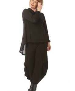 Pantaloni casual larguti cu falduri P020-NR negru - Marimi mari -