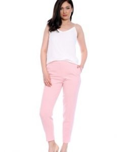 Pantaloni conici roz din stofa AM-60417 - Outlet -