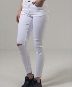 Pantaloni cu taieturi la genunchi pentru Femei alb Urban Classics - Pantaloni urban - Urban Classics>Femei>Pantaloni urban
