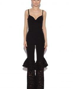 Pantaloni cu volane din dantela Negru - Imbracaminte - Imbracaminte / Pantaloni